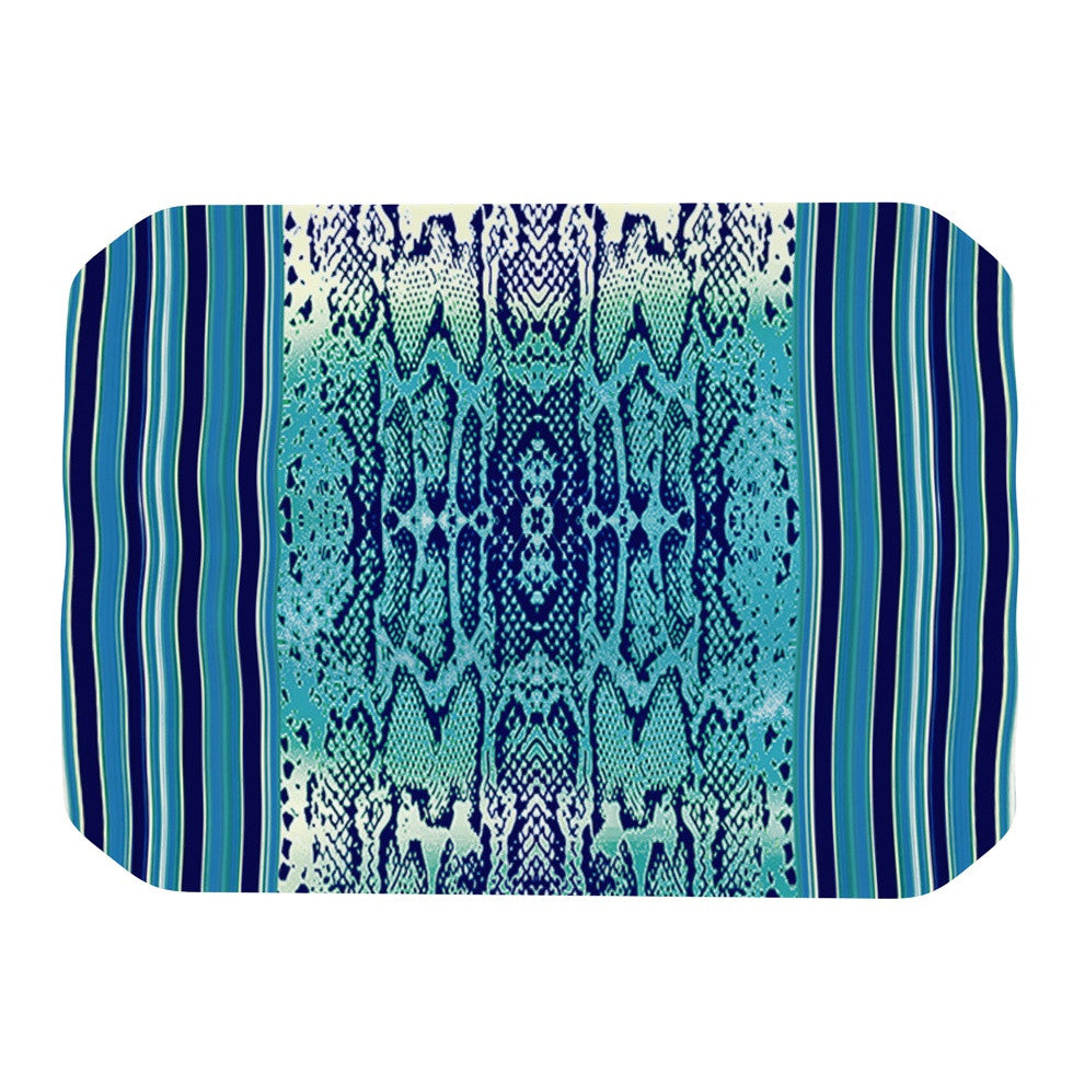 "Nina May ""Aqua Snake"" Blue Teal Place Mat - KESS InHouse"