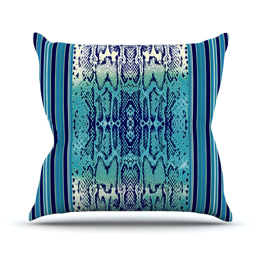 "Nina May ""Aqua Snake"" Blue Teal Outdoor Throw Pillow - KESS InHouse  - 1"