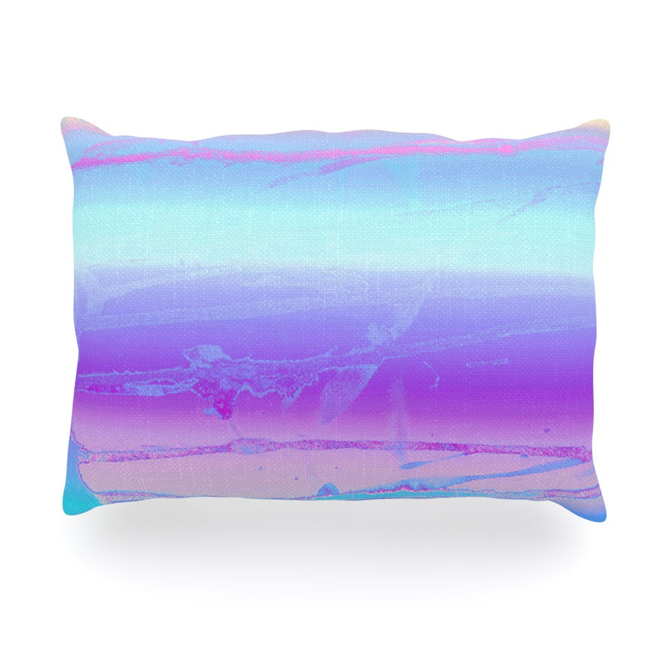 "Nina May ""Drip Dye Cool"" Pastel Blue Oblong Pillow - KESS InHouse"