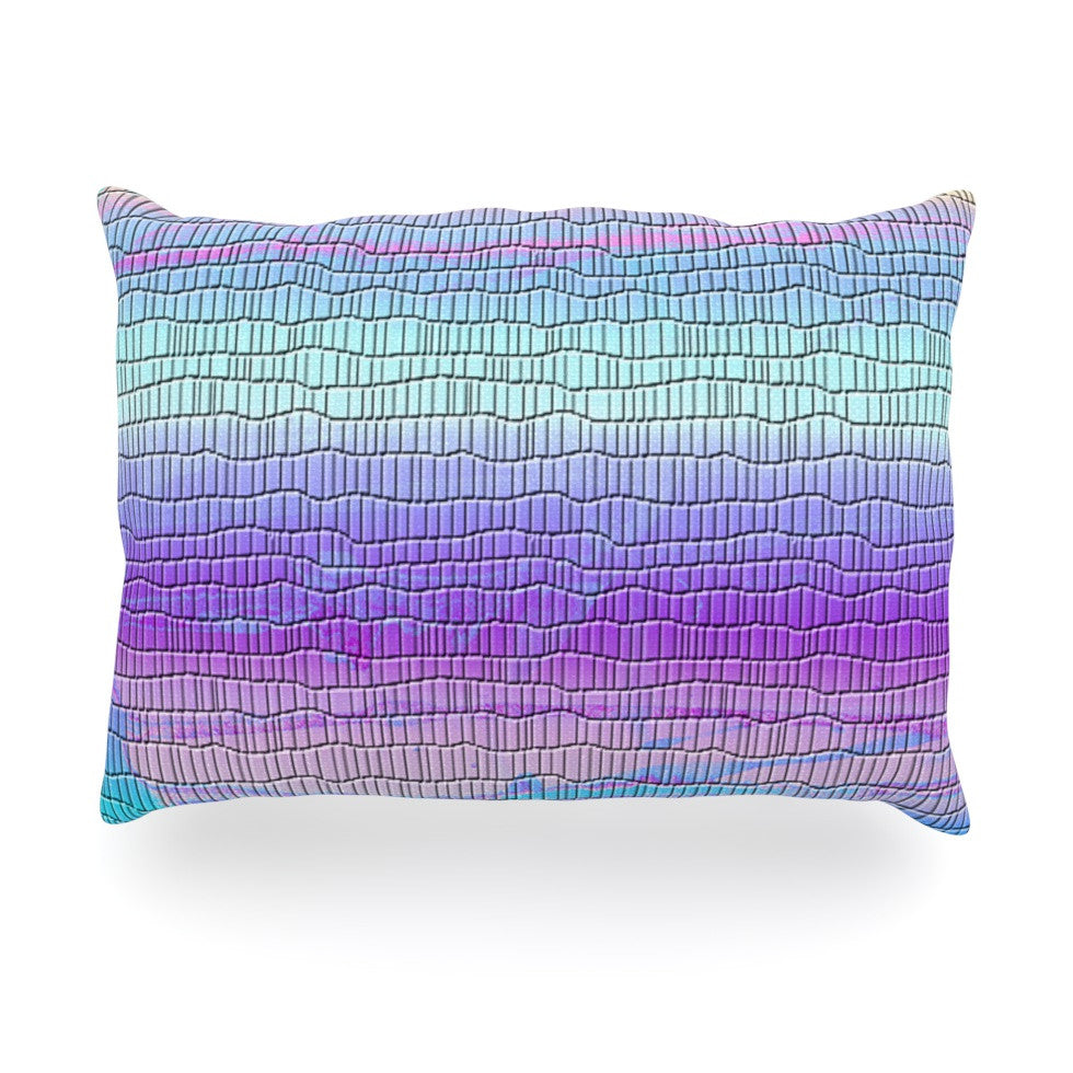 "Nina May ""Drip Dye Cool Strid"" Pastel Geometry Oblong Pillow - KESS InHouse"