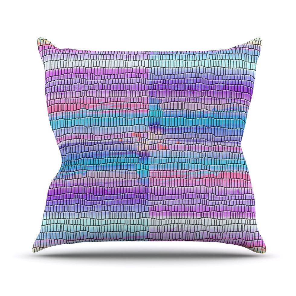 "Nina May ""Drip Dye Strid"" Abstract Pastel Outdoor Throw Pillow - KESS InHouse  - 1"