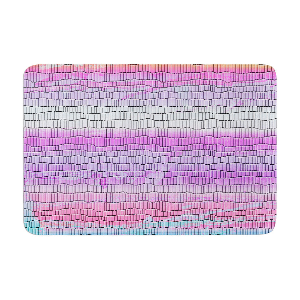 "Nina May ""Drip Dye Warm Strid"" Orange Pink Memory Foam Bath Mat - KESS InHouse"