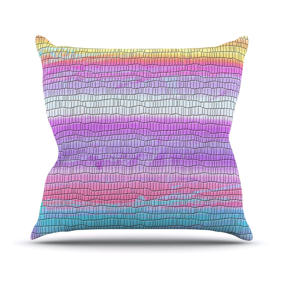 "Nina May ""Drip Dye Warm Strid"" Orange Pink Outdoor Throw Pillow - KESS InHouse  - 1"