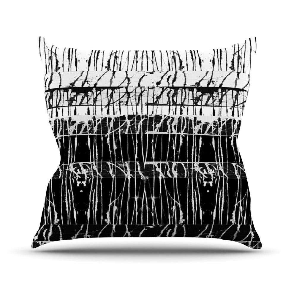 "Nina May ""Century City Splatter"" Black White Outdoor Throw Pillow - KESS InHouse  - 1"