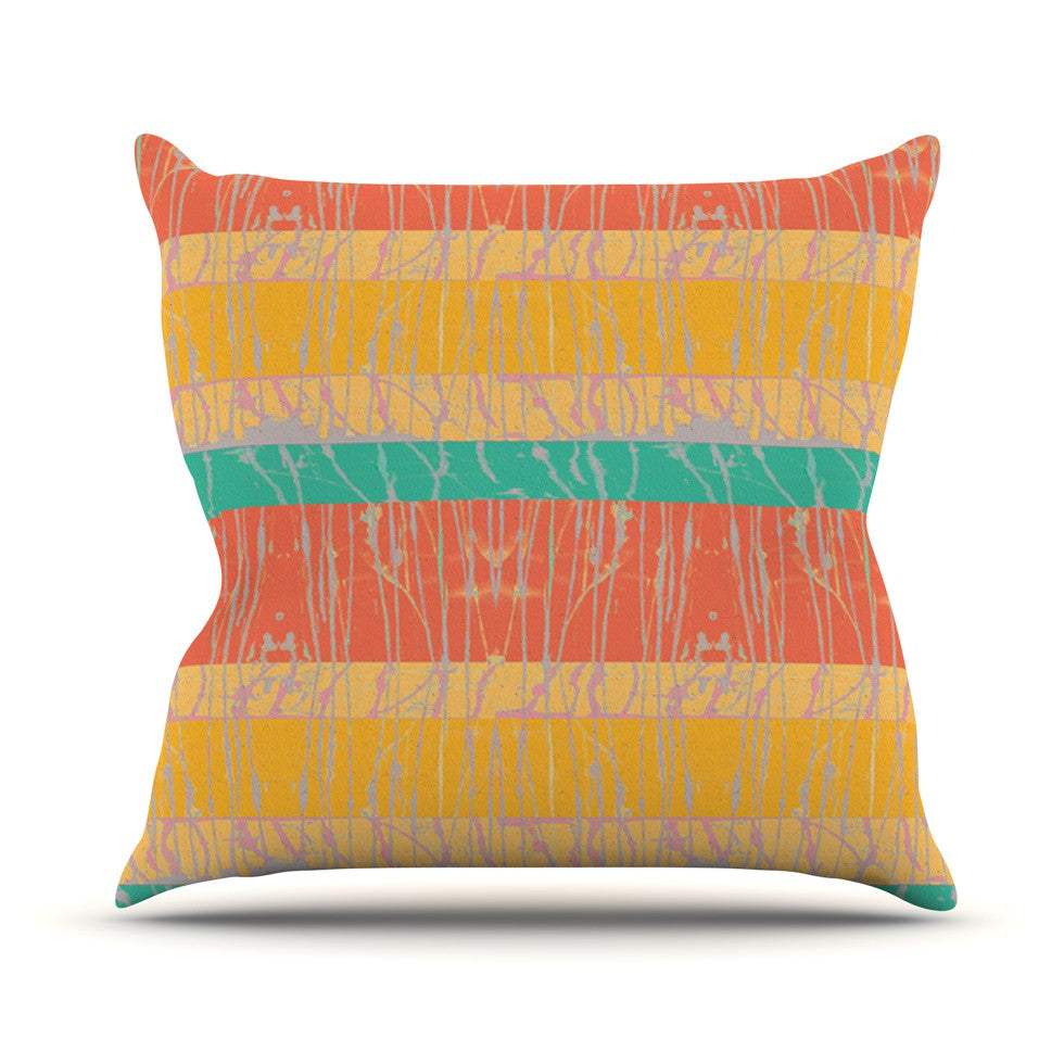 "Nina May ""Desert Splatter"" Orange Gold Outdoor Throw Pillow - KESS InHouse  - 1"