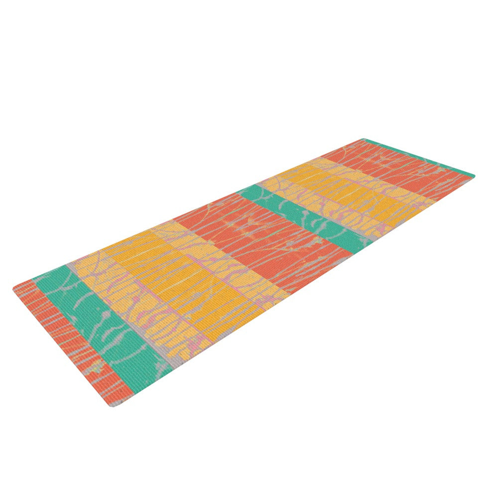 "Nina May ""Desert Splatter"" Orange Gold Yoga Mat - KESS InHouse  - 1"
