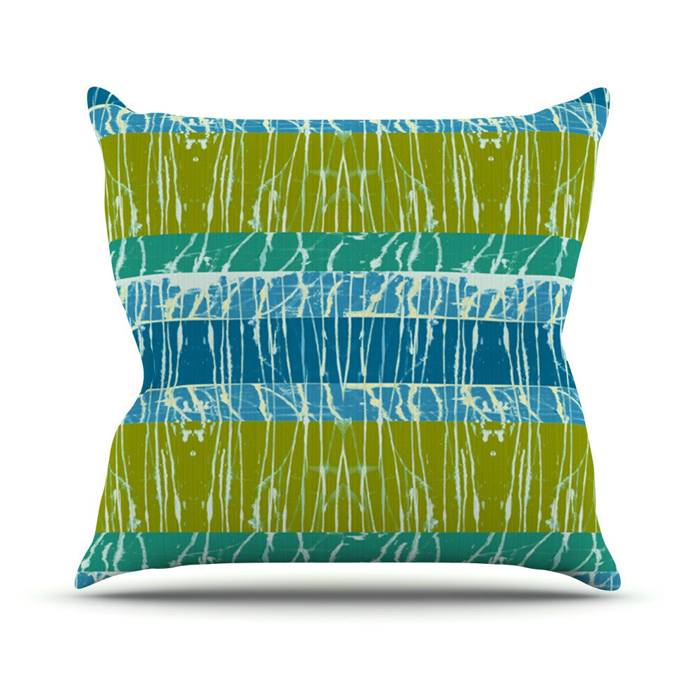 "Nina May ""Ocean Splatter"" Blue Teal Outdoor Throw Pillow - KESS InHouse  - 1"