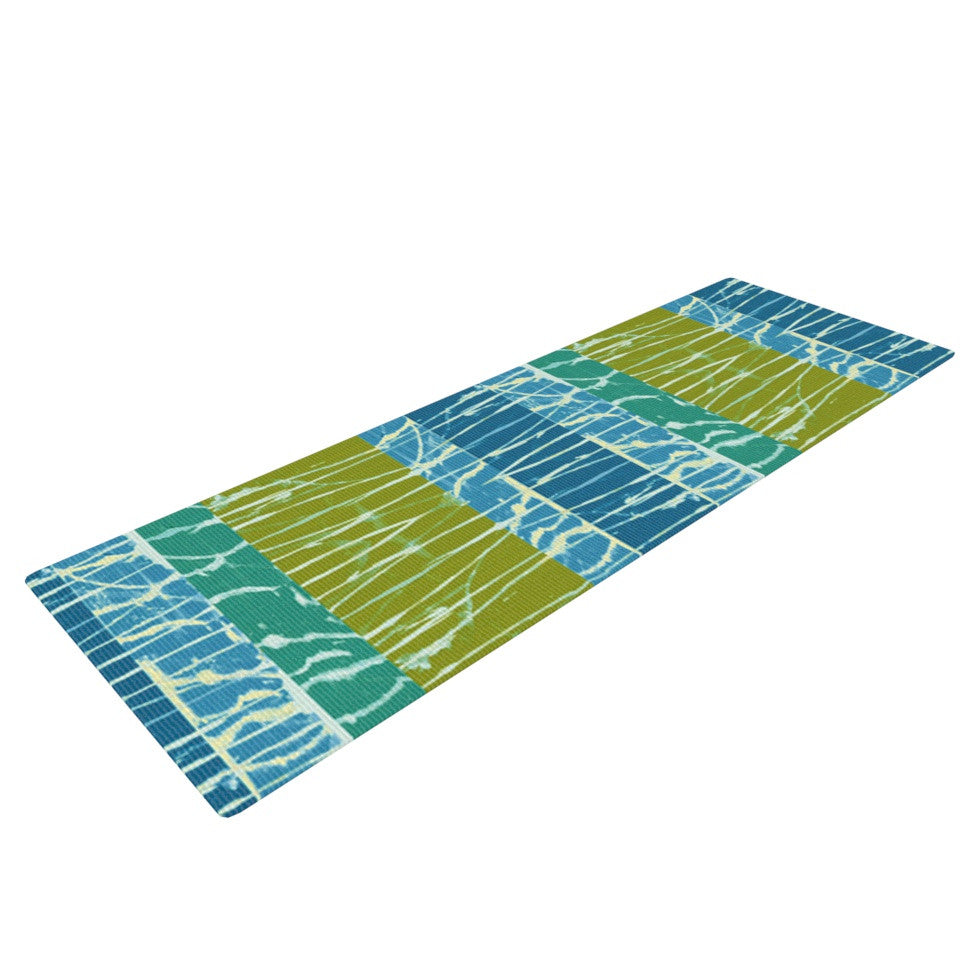 "Nina May ""Ocean Splatter"" Blue Teal Yoga Mat - KESS InHouse  - 1"