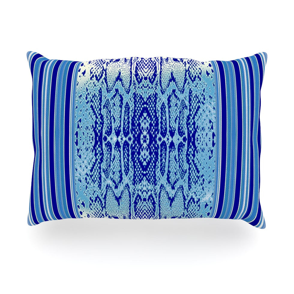 "Nina May ""Delf Snake"" Blue Aqua Oblong Pillow - KESS InHouse"