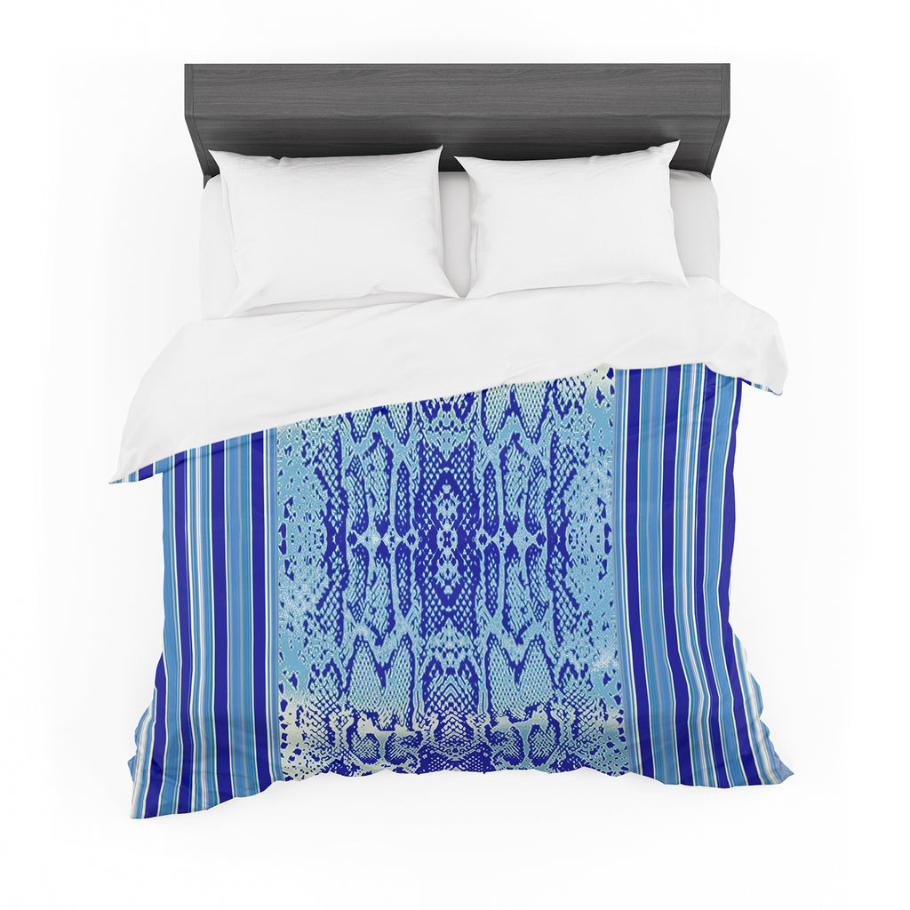 "Nina May ""Delf Snake"" Blue Aqua Cotton Duvet"