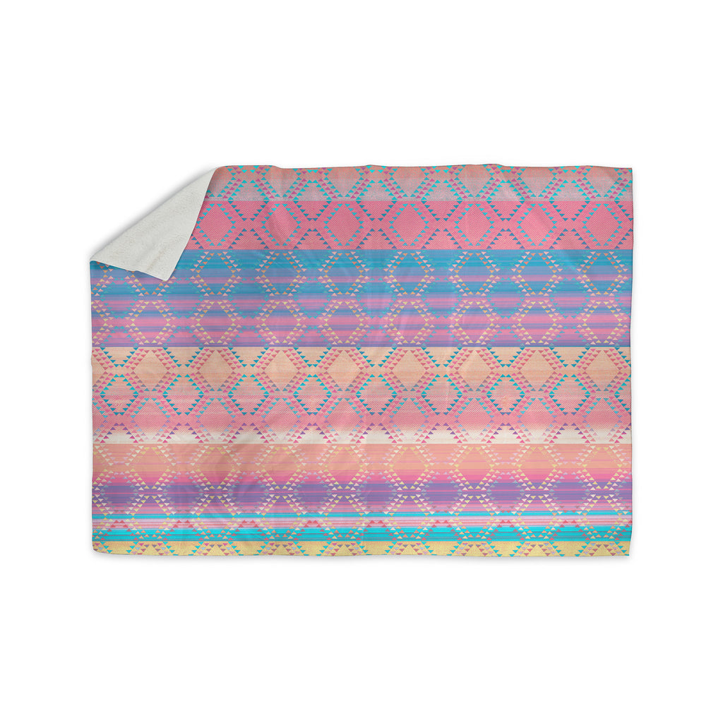 "Nina May ""Denin & Diam New Mexico"" Pastel Sherpa Blanket - KESS InHouse  - 1"