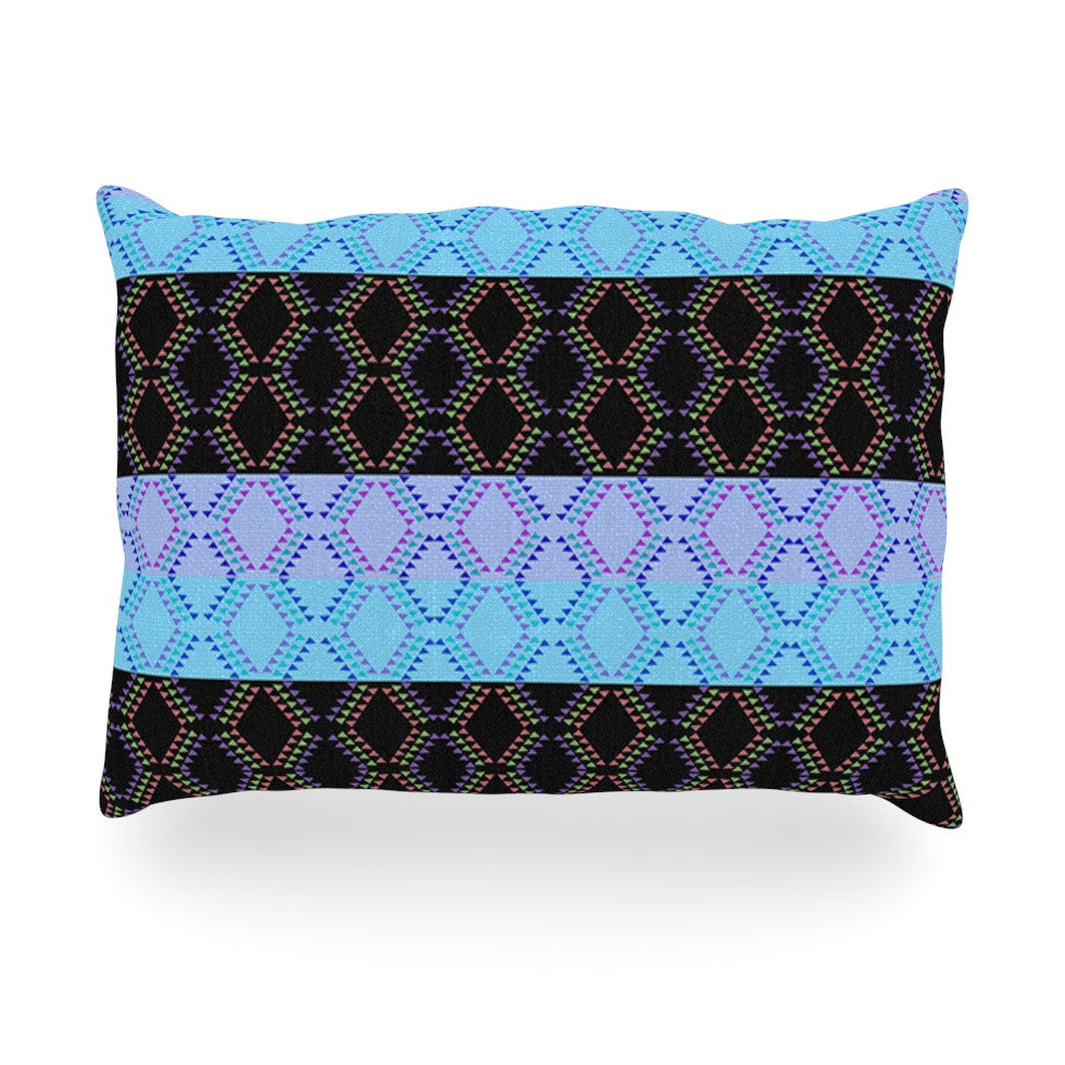 "Nina May ""Denin Diamond"" Blue Black Oblong Pillow - KESS InHouse"