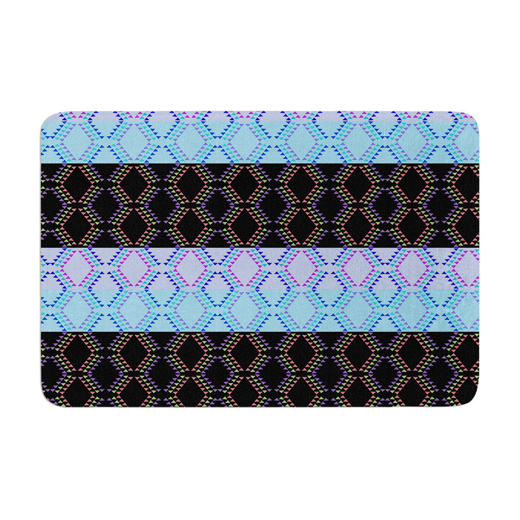 "Nina May ""Denin Diamond"" Blue Black Memory Foam Bath Mat - KESS InHouse"