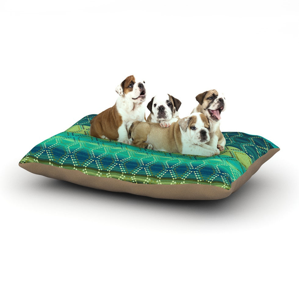 "Nina May ""Denin Diamond Gradient Green"" Turquoise Emerald Dog Bed - KESS InHouse  - 1"