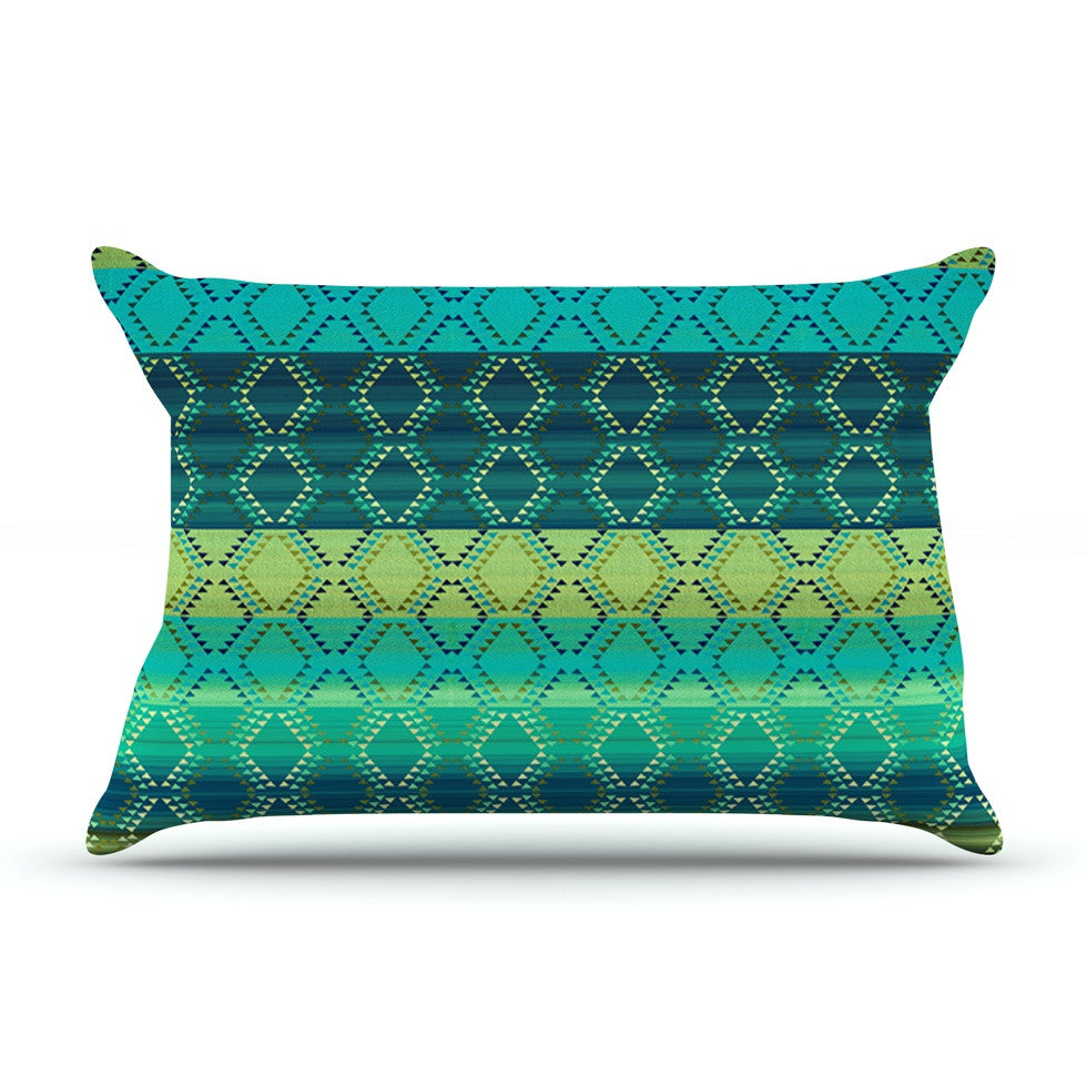 "Nina May ""Denin Diamond Gradient Green"" Turquoise Emerald Pillow Sham - KESS InHouse"