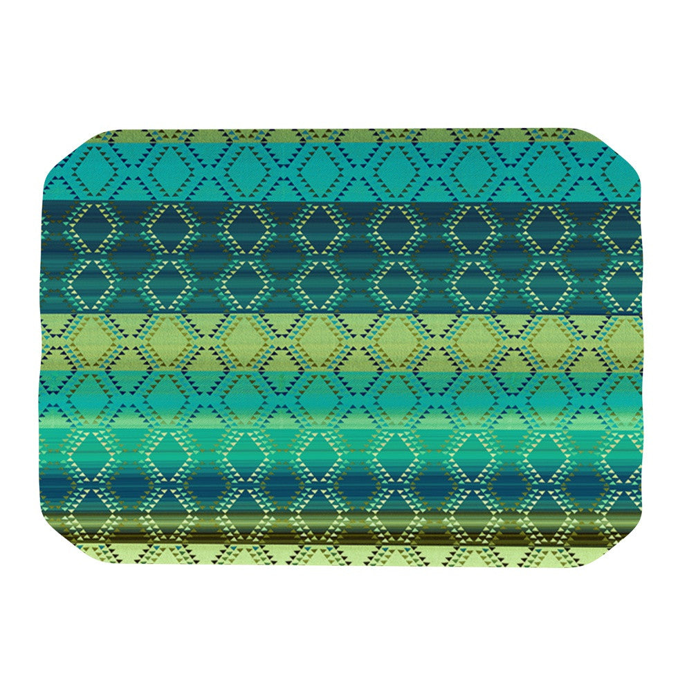 "Nina May ""Denin Diamond Gradient Green"" Turquoise Emerald Place Mat - KESS InHouse"