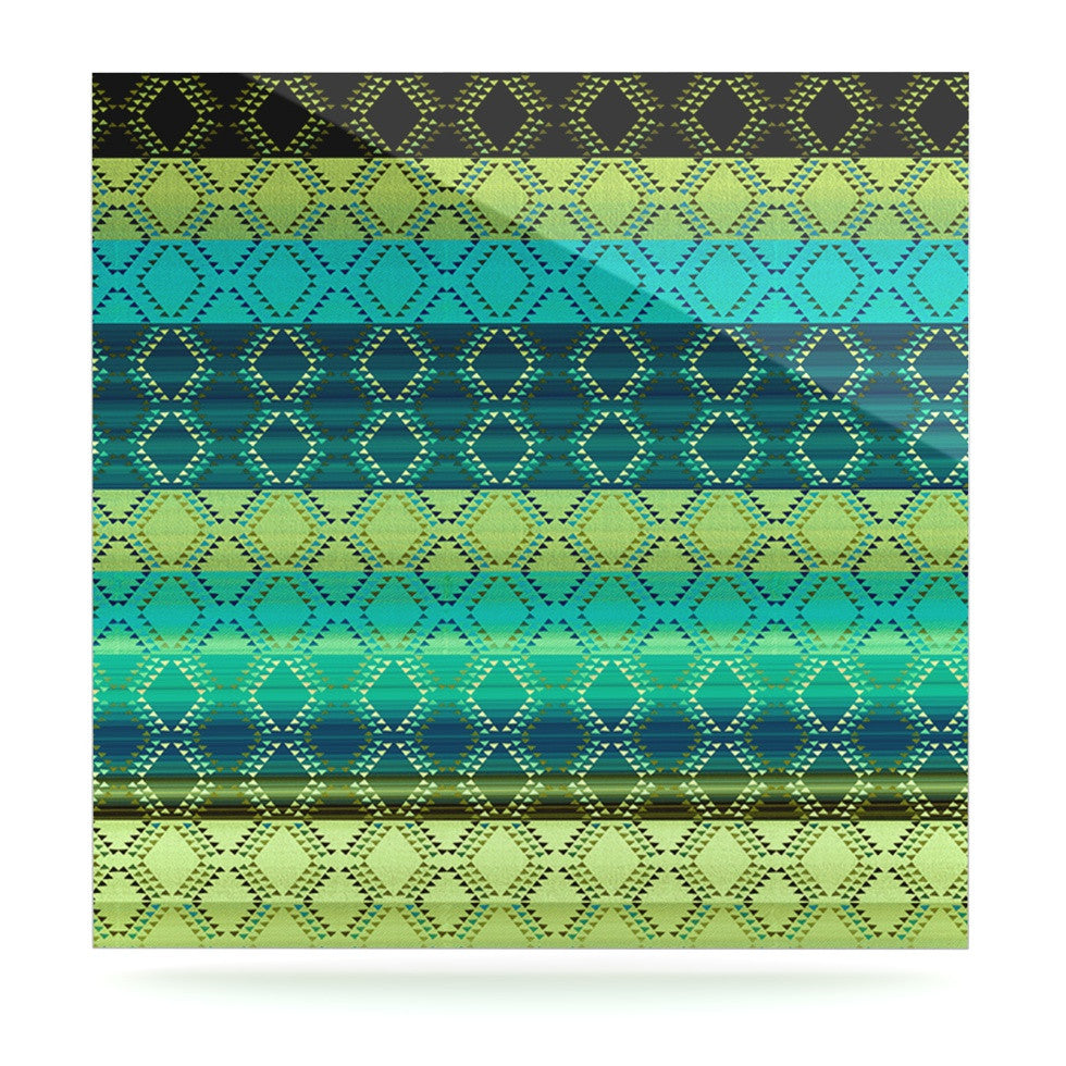 "Nina May ""Denin Diamond Gradient Green"" Turquoise Emerald Luxe Square Panel - KESS InHouse  - 1"