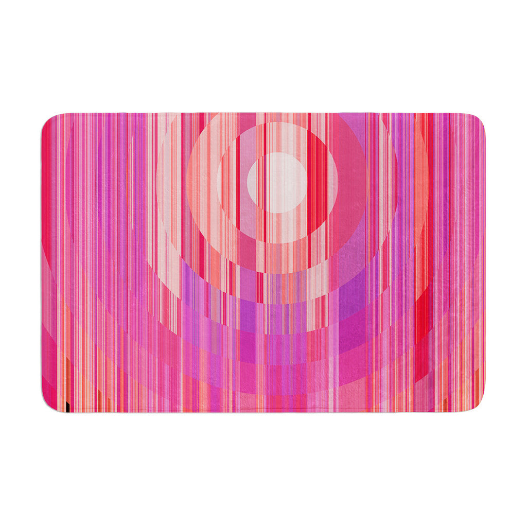 "Nina May ""Mohave Sun"" Pink Geometric Memory Foam Bath Mat - KESS InHouse"