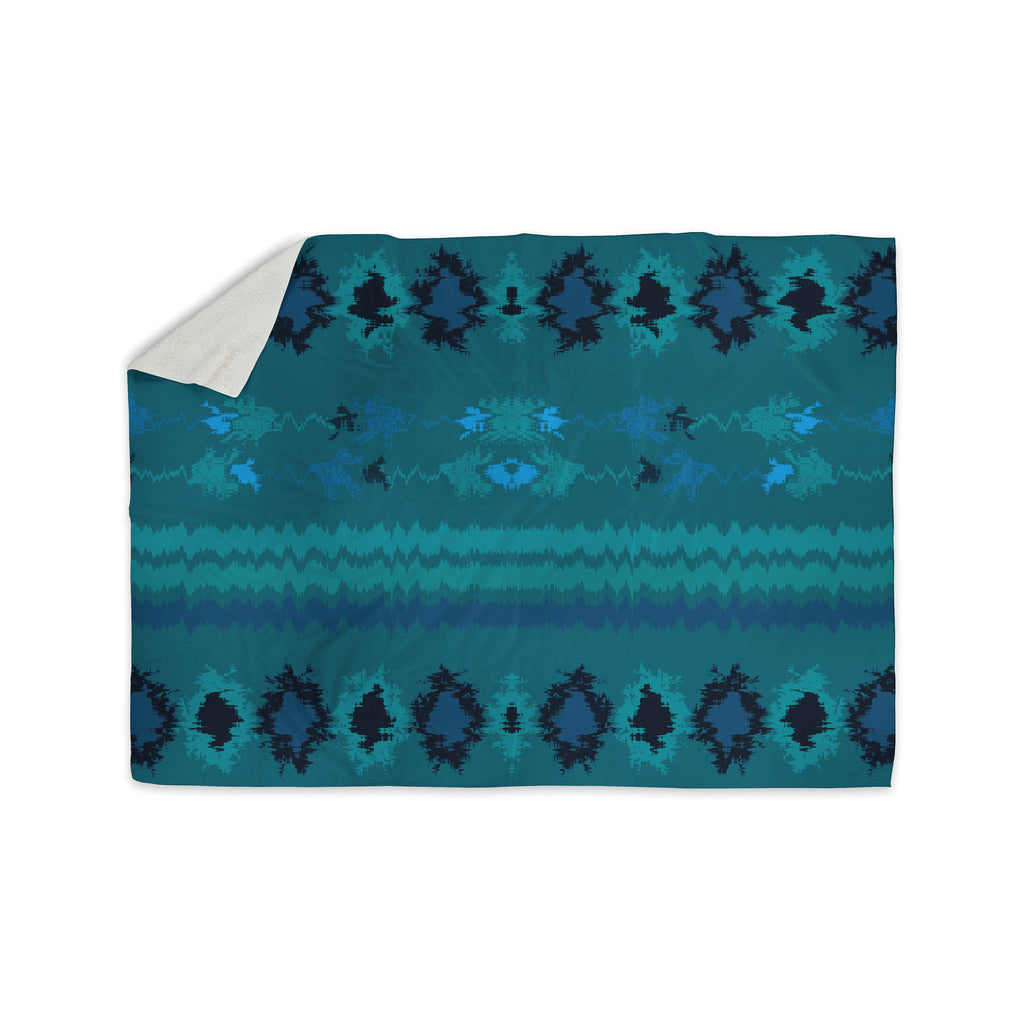 "Nina May ""Turquoise Nava"" Teal Tribal Sherpa Blanket - KESS InHouse  - 1"