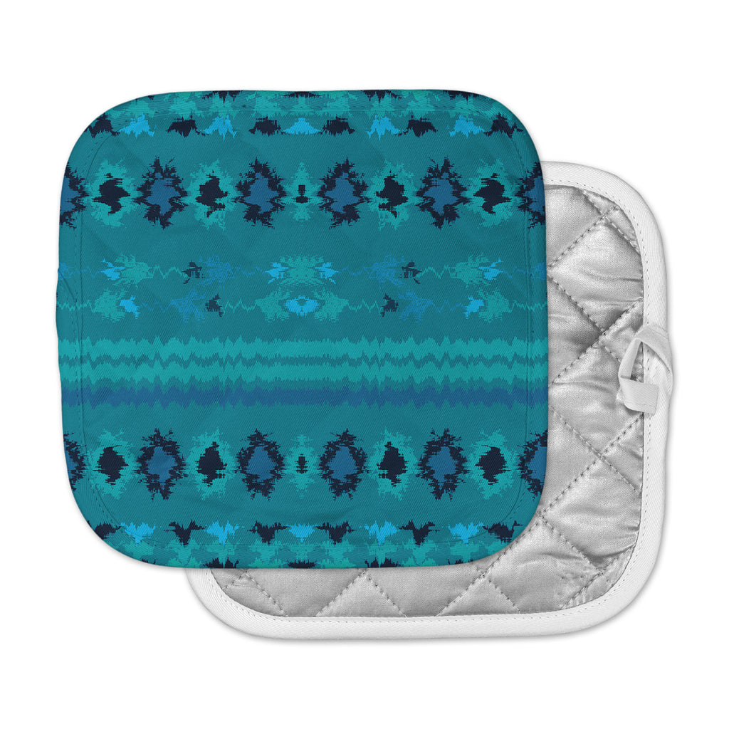 "Nina May ""Turquoise Nava"" Teal Tribal Pot Holder"