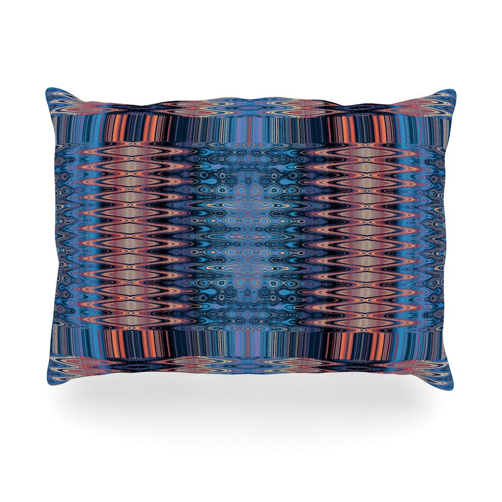 "Nina May ""Larina Nueva Sky"" Blue Orange Oblong Pillow - KESS InHouse"