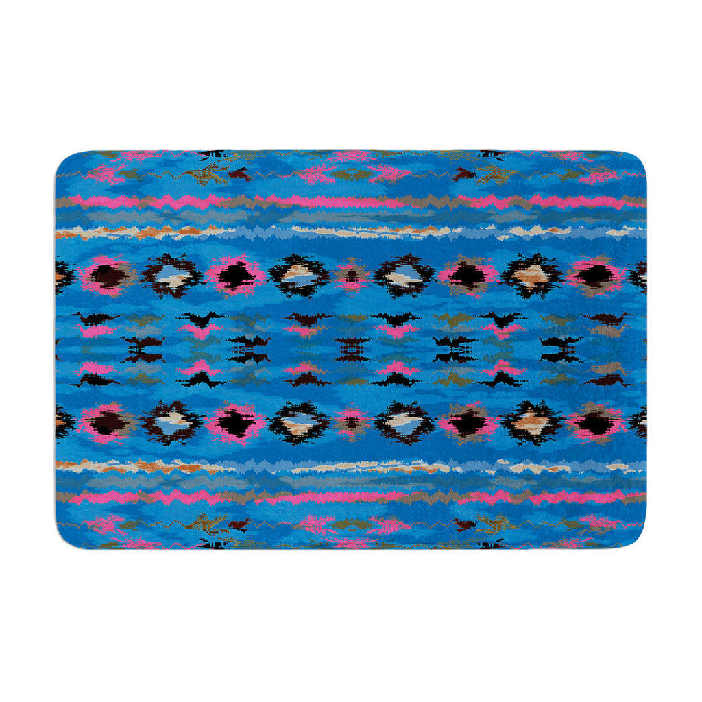 "Nina May ""Navano Blue"" Blue Tribal Memory Foam Bath Mat - KESS InHouse"