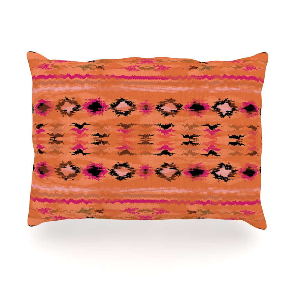 "Nina May ""Navano"" Orange Tribal Oblong Pillow - KESS InHouse"