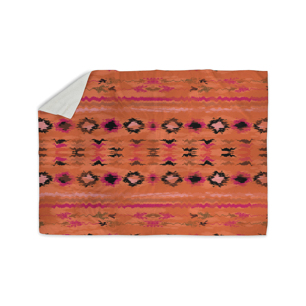 "Nina May ""Navano"" Orange Tribal Sherpa Blanket - KESS InHouse  - 1"