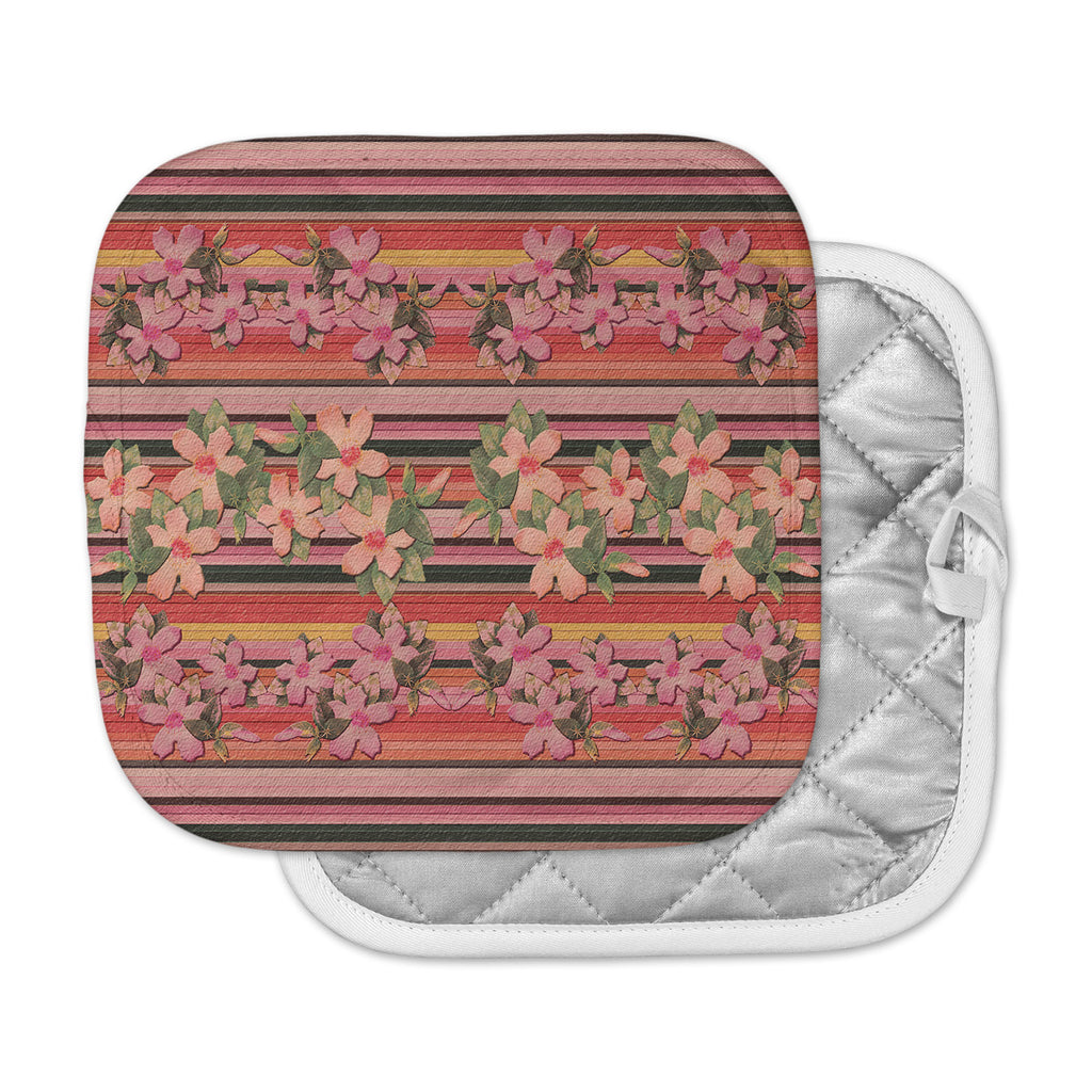 "Nina May ""Peach Hibiscus Stripe"" Pink Orange Pot Holder"