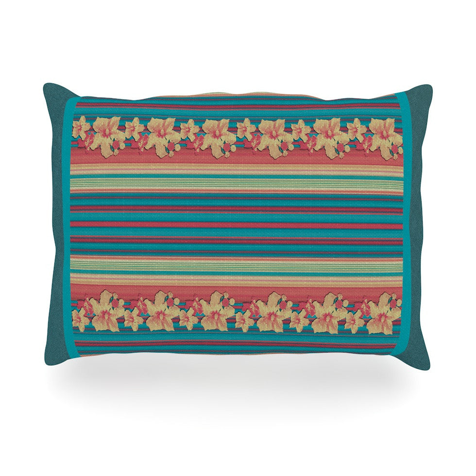 "Nina May ""Mahalo Denim Stripe"" Teal Floral Oblong Pillow - KESS InHouse"