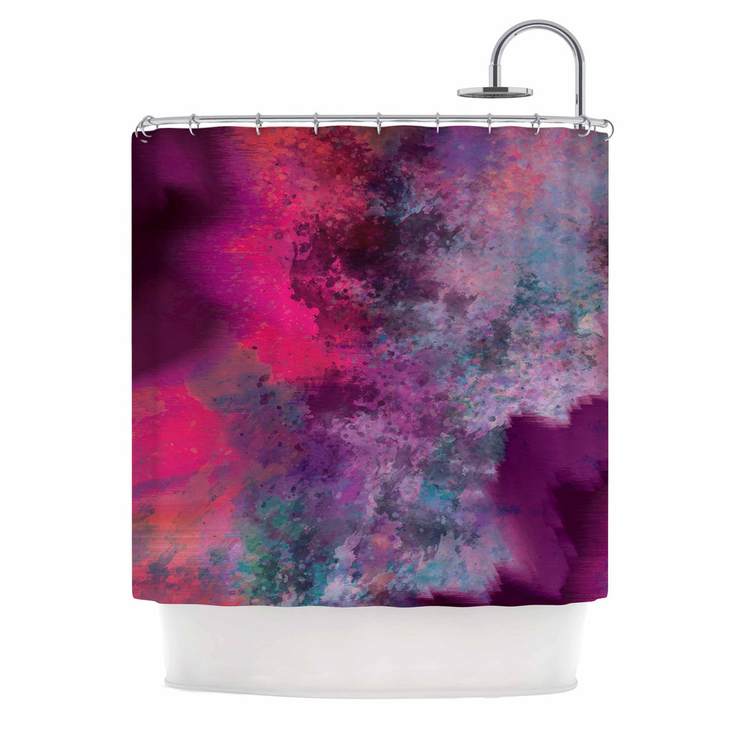 "Nina May ""Mineral Pink "" Purple Watercolor Shower Curtain - KESS InHouse"