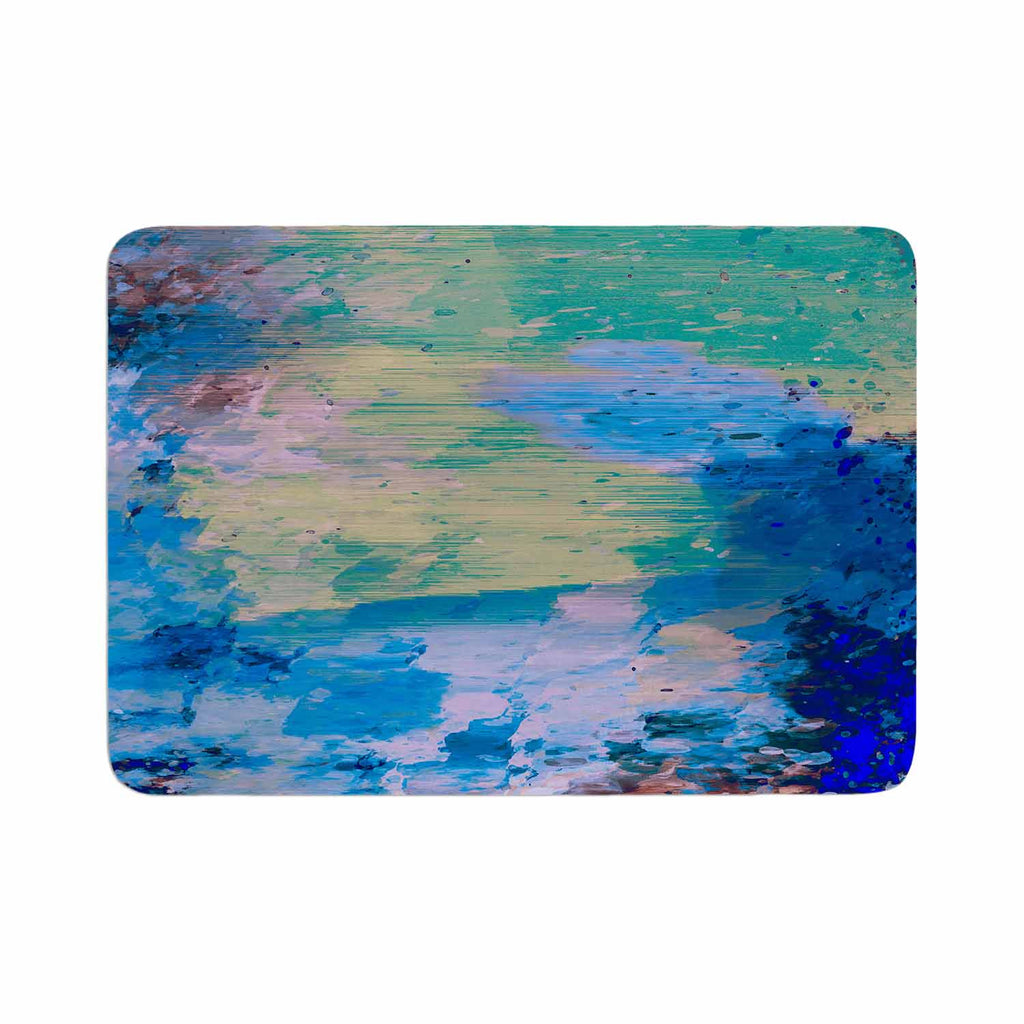 "Nina May ""Mineral Surf"" Blue Abstract Memory Foam Bath Mat - KESS InHouse"