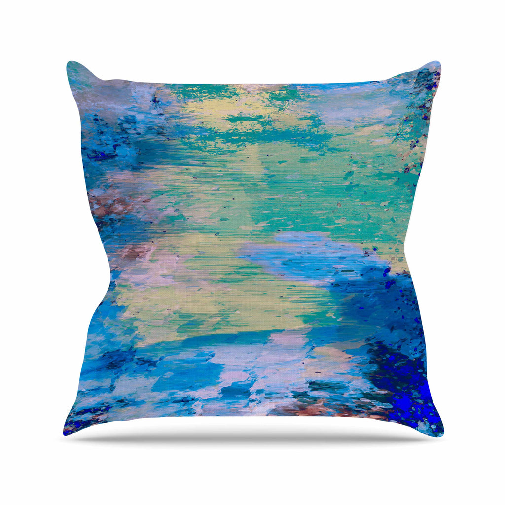 "Nina May ""Mineral Surf"" Blue Abstract Outdoor Throw Pillow - KESS InHouse  - 1"