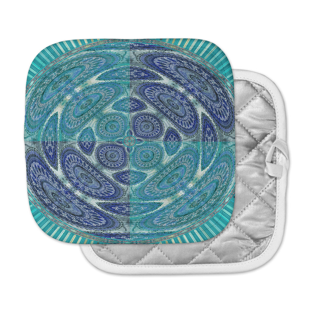 "Nina May ""Mandala World"" Blue Teal Digital Pot Holder"