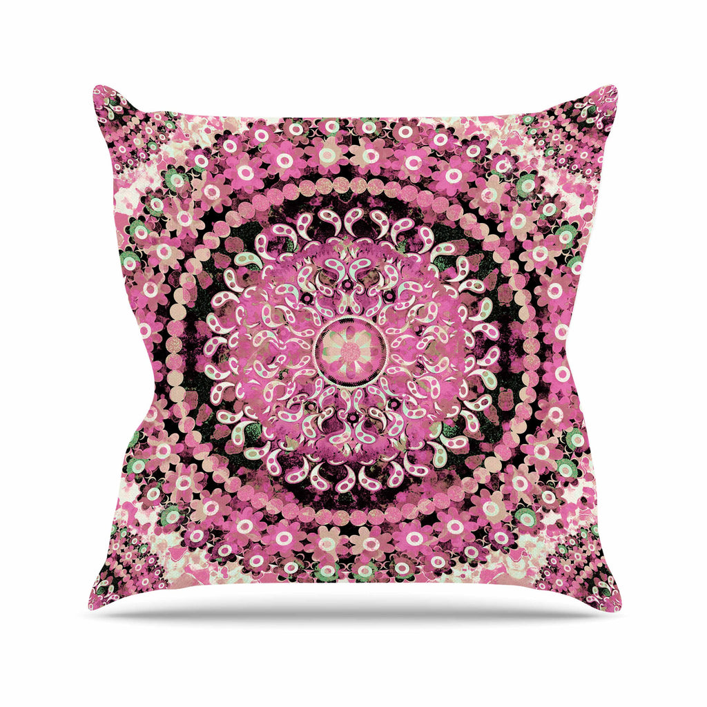 "Nina May ""Pink Mosaic Mandala"" Pink Beige Illustration Outdoor Throw Pillow - KESS InHouse  - 1"