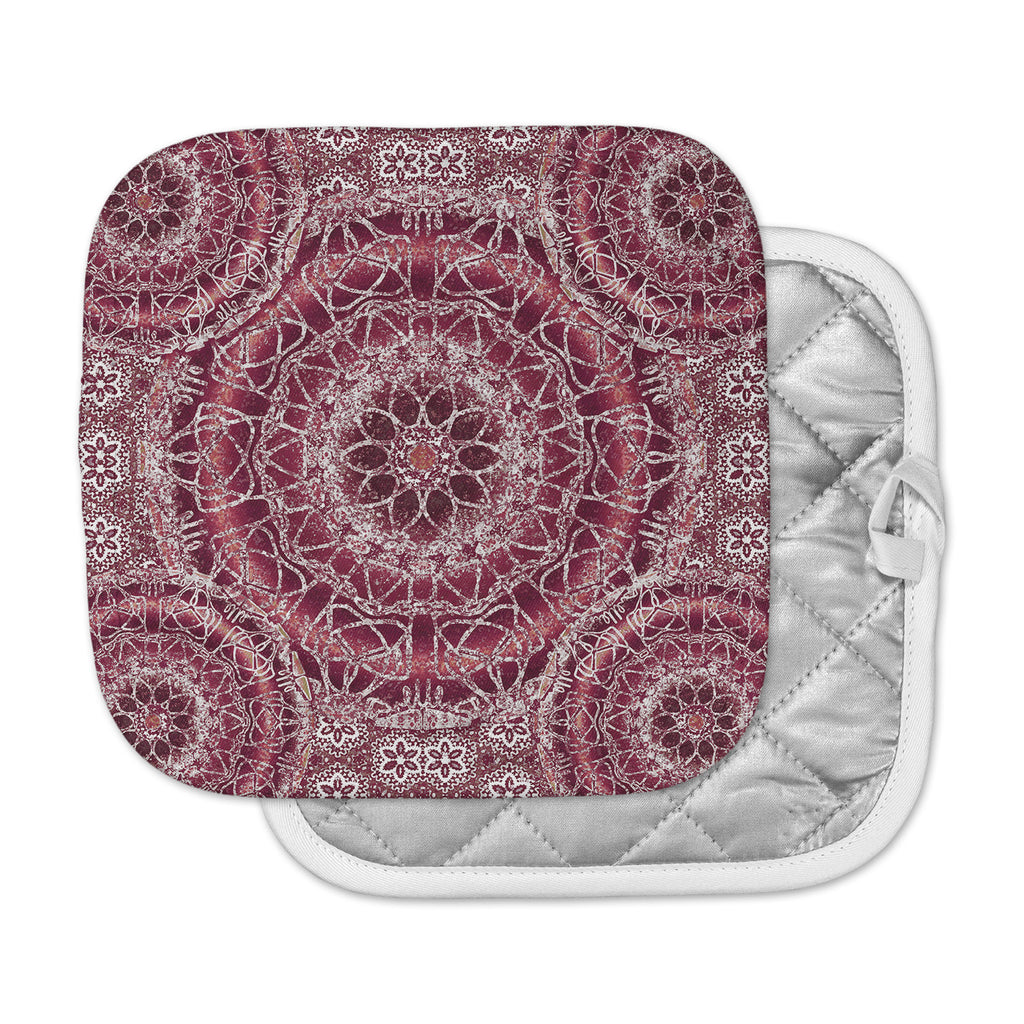 "Nina May ""Madera Mandalas"" Maroon White Illustration Pot Holder"