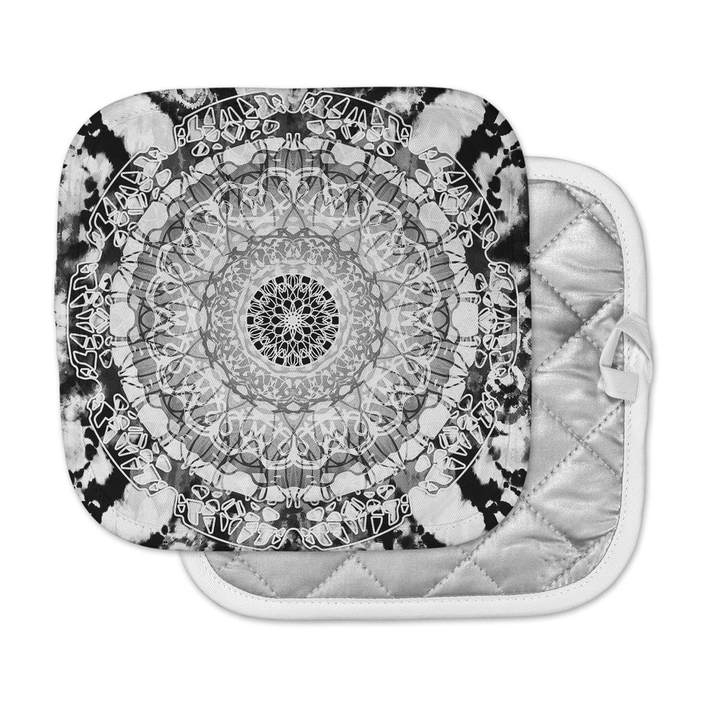 "Nina May ""Tie-Dye Mandala Jain"" Black White Illustration Pot Holder"