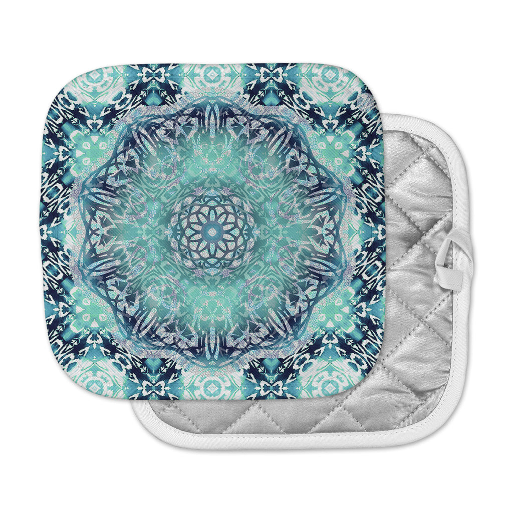 "Nina May ""Aqua Ikat Batik Mandala"" Teal Blue Mixed Media Pot Holder"