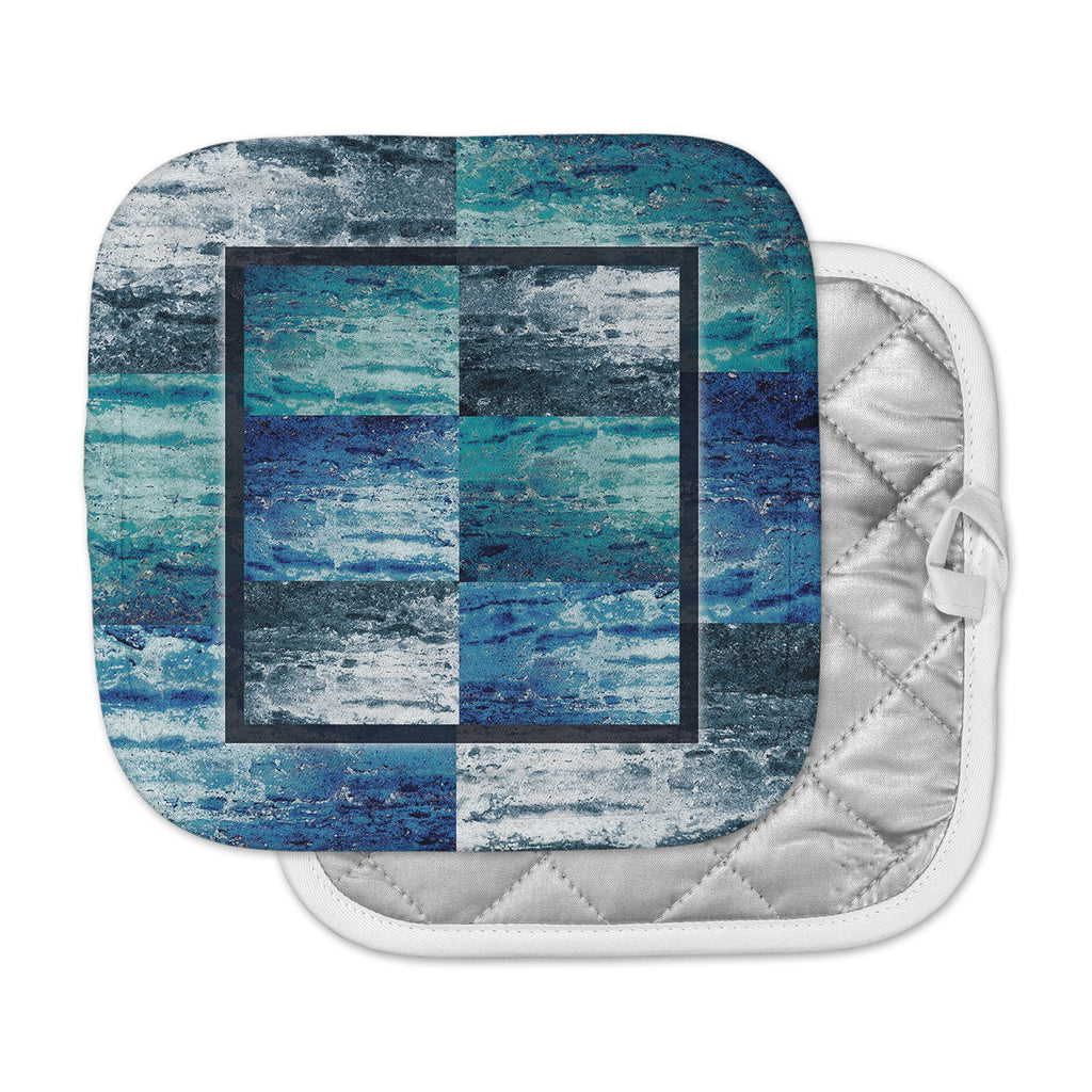 "Nina May ""Tavertina Blue"" Blue Teal Mixed Media Pot Holder"