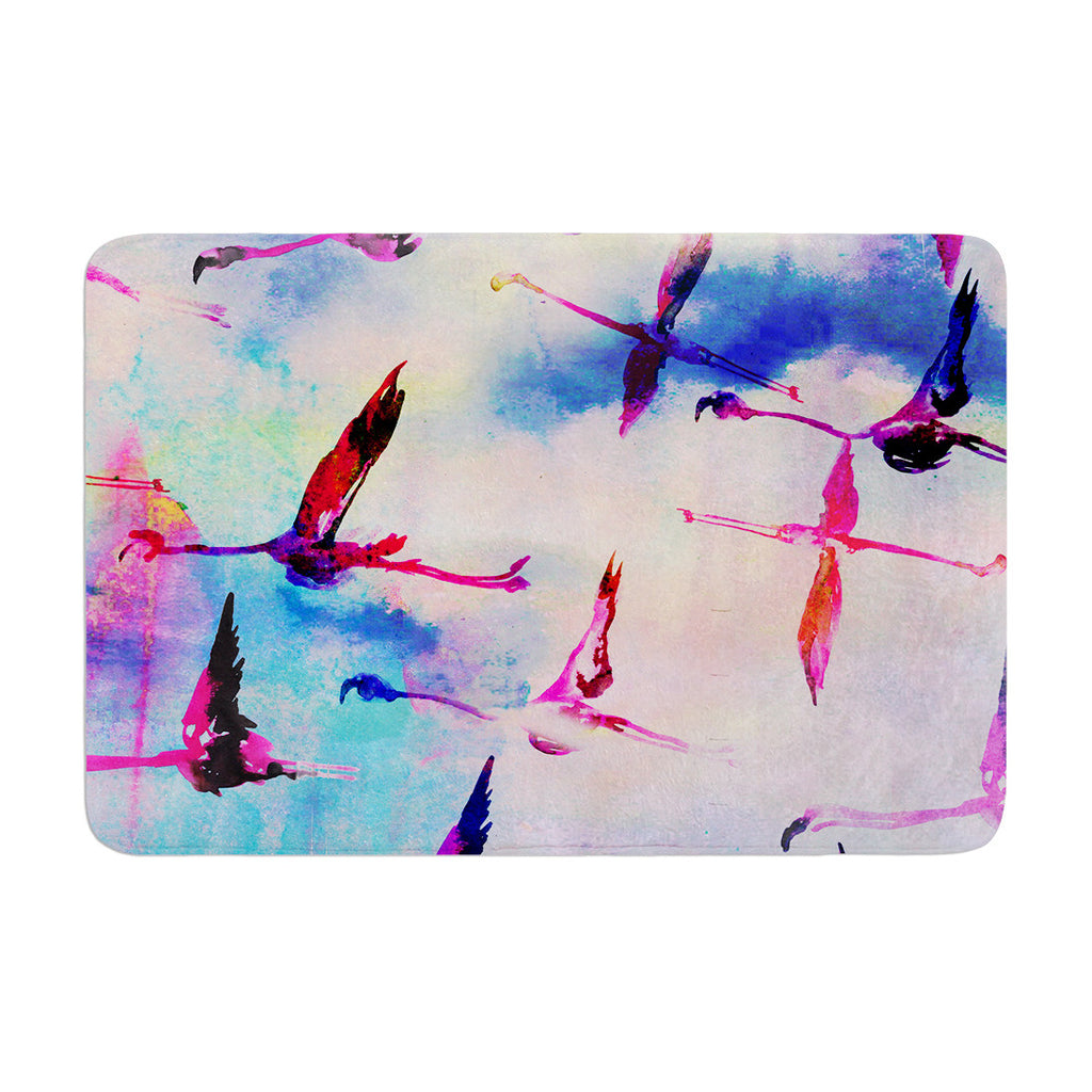 "Nikki Strange ""Flamingo in Flight"" Memory Foam Bath Mat - KESS InHouse"