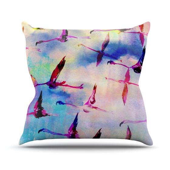 "Nikki Strange ""Flamingo in Flight"" Throw Pillow - KESS InHouse  - 1"