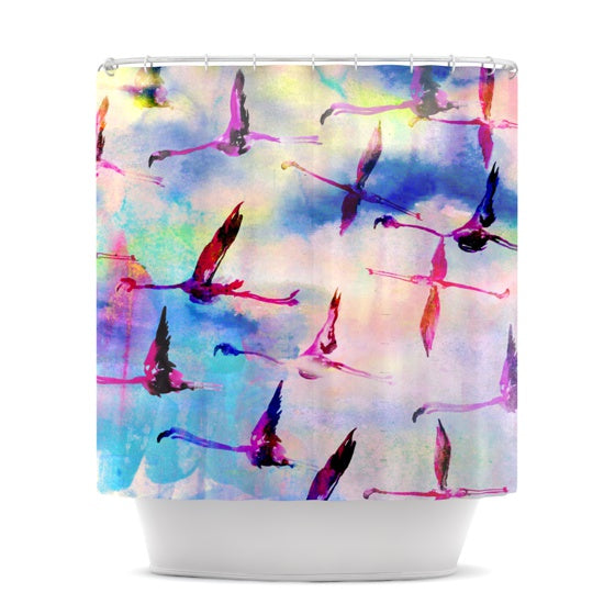 "Nikki Strange ""Flamingo in Flight"" Shower Curtain - KESS InHouse"
