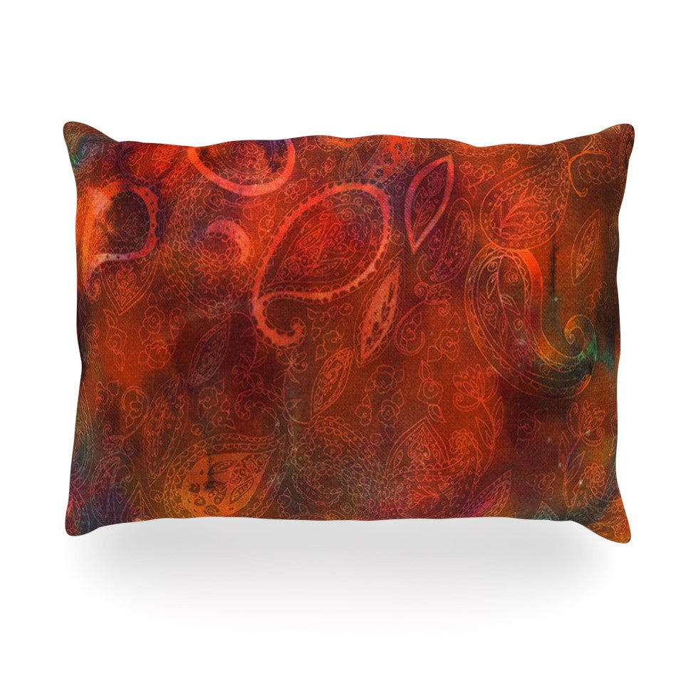 "Nikki Strange ""Tie Dye Paisley"" Orange Red Oblong Pillow - KESS InHouse"