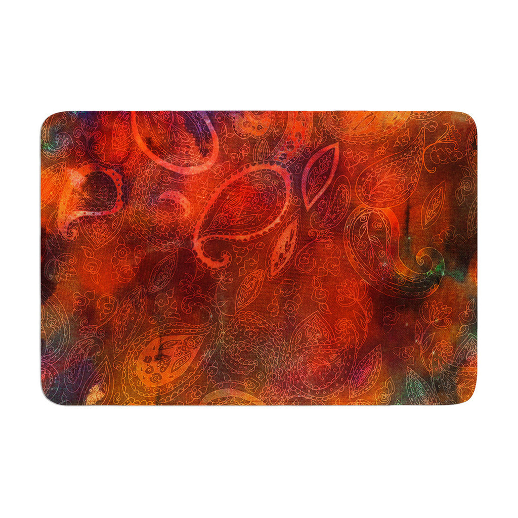 "Nikki Strange ""Tie Dye Paisley"" Orange Red Memory Foam Bath Mat - KESS InHouse"
