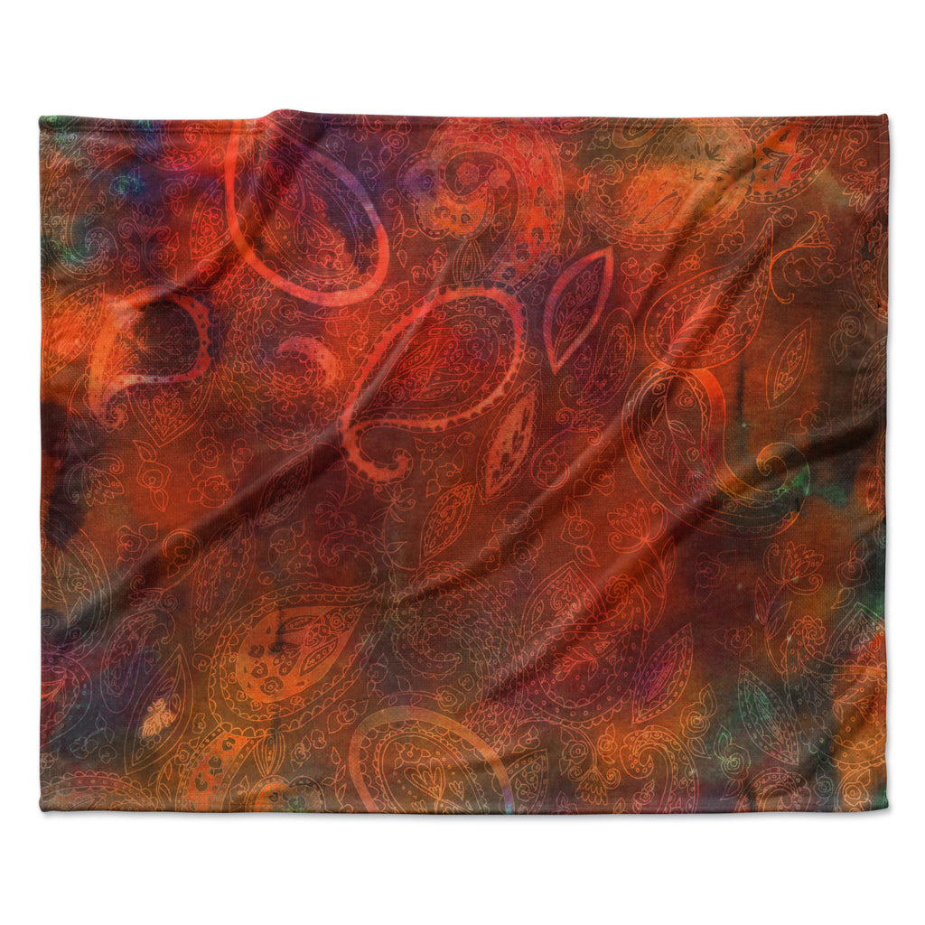 "Nikki Strange ""Tie Dye Paisley"" Orange Red Fleece Throw Blanket"