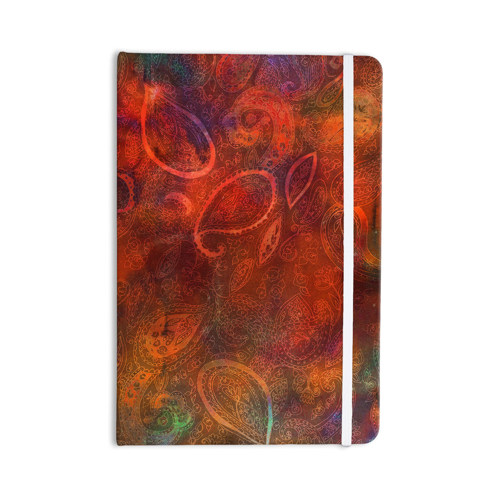 "Nikki Strange ""Tie Dye Paisley"" Orange Red Everything Notebook - KESS InHouse  - 1"