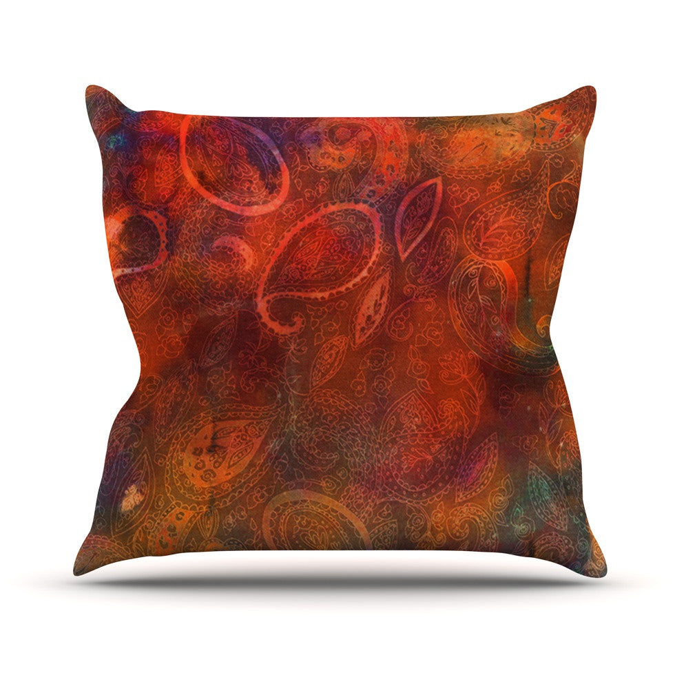 "Nikki Strange ""Tie Dye Paisley"" Orange Red Throw Pillow - KESS InHouse  - 1"