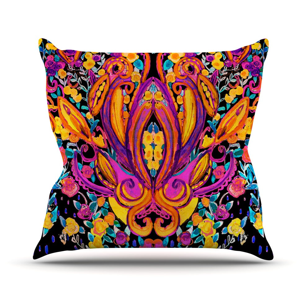 "Nikki Strange ""Paisley Garden"" Wam Pink Outdoor Throw Pillow - KESS InHouse  - 1"