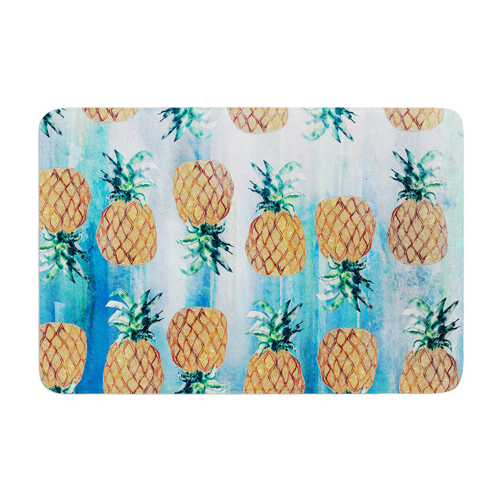 "Nikki Strange ""Pineapple Beach"" Blue Brown Memory Foam Bath Mat - KESS InHouse"