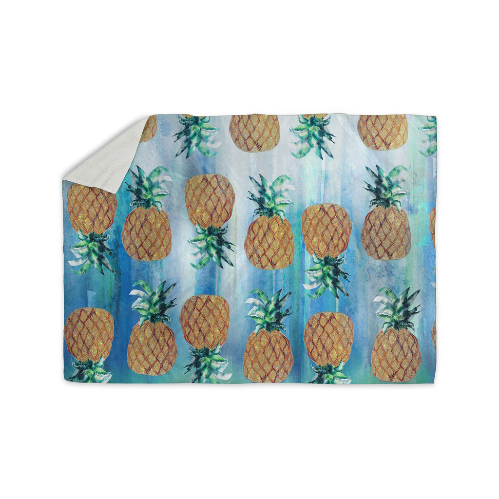 "Nikki Strange ""Pineapple Beach"" Blue Brown Sherpa Blanket - KESS InHouse  - 1"